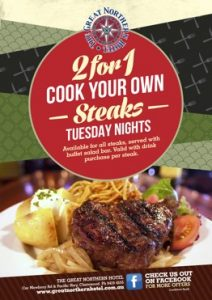 2 FOR 1 COOK YOUR OWN STEAKS – TUESDAY