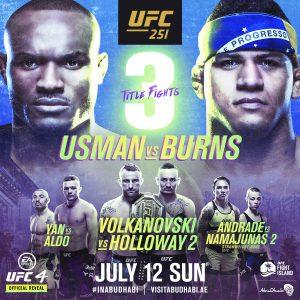 UFC 251 – THREE TITLE FIGHTS – USMAN V BURNS